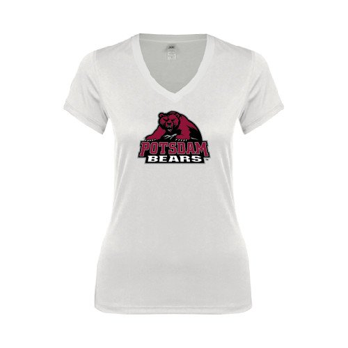 Potsdam Ladies Junior Fit Deep V White Tee 'Potsdam Bears - Official Logo'