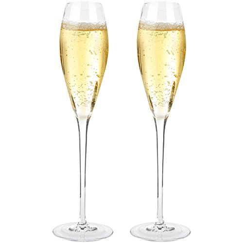Bella Vino Crystal Champagne Flute Glasses - Beautifully Designed Hand Blown Champagne Glasses, 100% Lead Free Premium Crystal Glass, Perfect for Any Occasion,Great Gift, Set of 2, Clear (Deliver Champagne Gift)