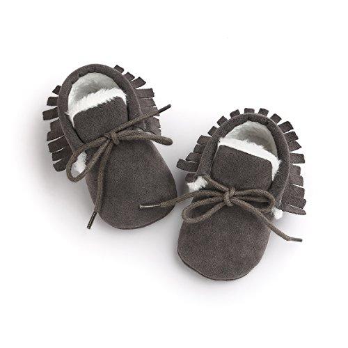 Auxma Moda Bebé niña cuna borlas vendaje suave único Casual zapatos niño Zapatillas gris oscuro(invierno)