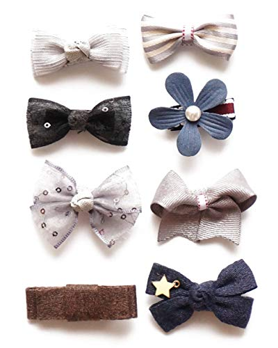 Belle Beau Baby Girls Hair Bows, Ribbon Lined Alligator Hair Clips, Barrettes, Toddlers Hair Accessories (A)