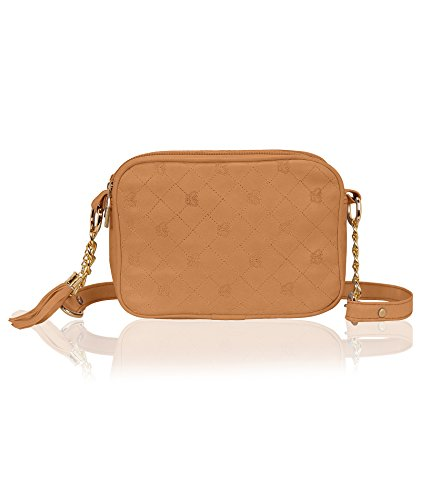 Kleio Quilted Faux Leather Double Compartment Crossbody Messenger Cell Phone Purse Women Girls Bag For Keys, Coins, Cards, Wallets And Some Makeup With Tassel (Tan) - Quilted Bag Tan