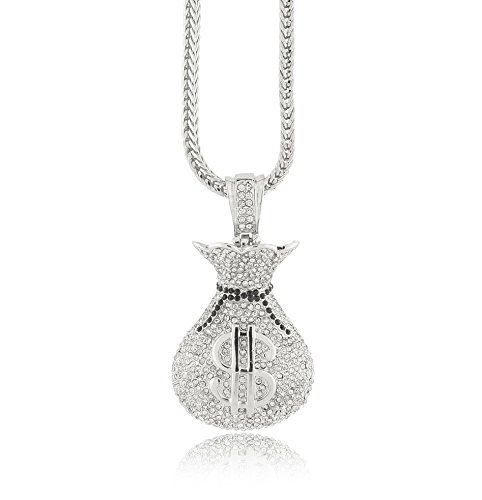 Iced Out Silver Money Bag Pendant w/ 30