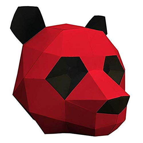 MMMMM Face mask Shield Veil Guard Screen Domino False Front Panda caps mask Origami Party Creative mask red,Red]()