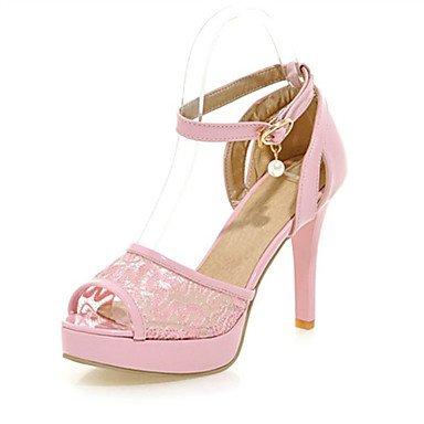 LvYuan Tacón Stiletto-Innovador Zapatos del club Confort-Sandalias-Boda Exterior Vestido Informal-Semicuero Materiales Personalizados-Negro Rosa Black