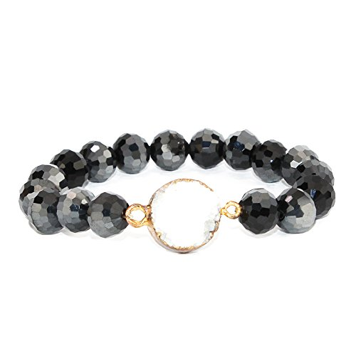 POMINA Disco Ball Faceted Glass Beaded Stretch Bracelets with Gold Foiled Druzy Stone (Black)