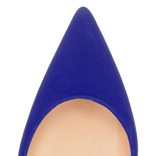 Kolnoo Damen Stiletto Spitz Zehen Dorsay High Heel Pumps Größe Blau