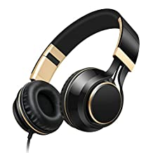Pevor Wired Over Ear Headphones I58 with Microphone Volume Control 3.5mm Corded Portable Foldable HIFI Low Bass Noise Cancelling Headset Earphones for Cellphones Computer (Black Gold)