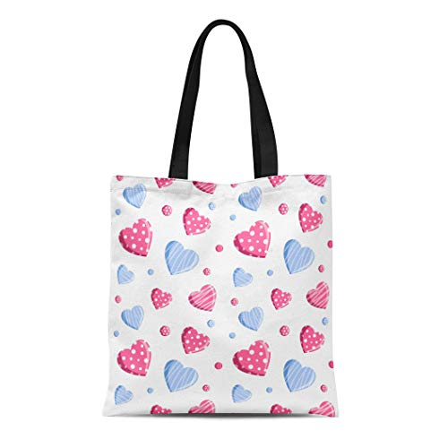 (Semtomn Canvas Tote Bag Shoulder Bags White Abstract Hearts in Blue and Pink Colors Valentine Women's Handle Shoulder Tote Shopper Handbag)