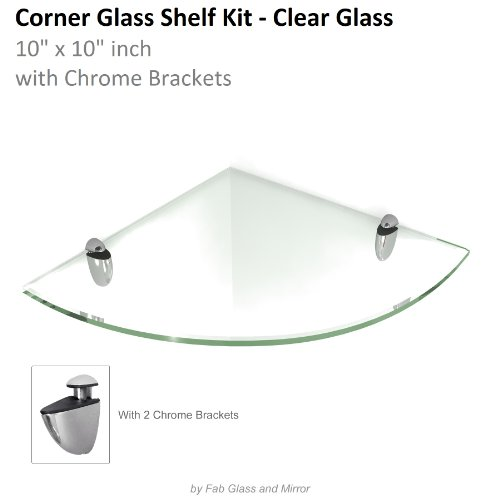 Fab Glass and Mirror 10 x 10 Inch Tempered Floating Glass Shelf Kit with 2 Chrome Brackets