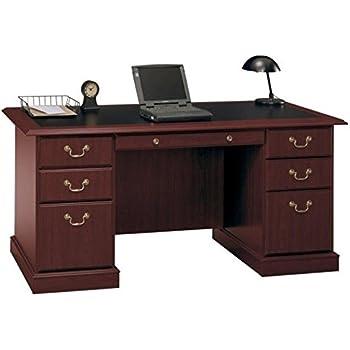 Amazoncom Saratoga Executive Desk In Harvest Cherry And Black - Bush furniture online