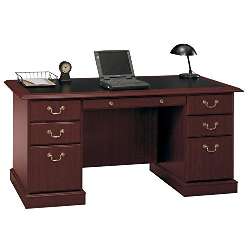 Bush Furniture Saratoga Executive Home Office Wood Manager's Desk in Cherry - Executive Cherry Wood