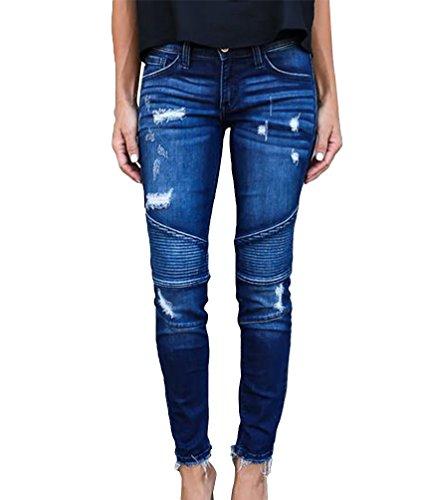 Denim Bleu Skinny Fonc Crayon Ripped Dooxi Dcontracte Stretch Boyfriend Pantalons Femmes lgant Jeans 4pRnqX