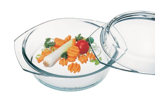 Simax Glassware 6226/6236 Round Casserole Pan with Lid, 3.5-Quart
