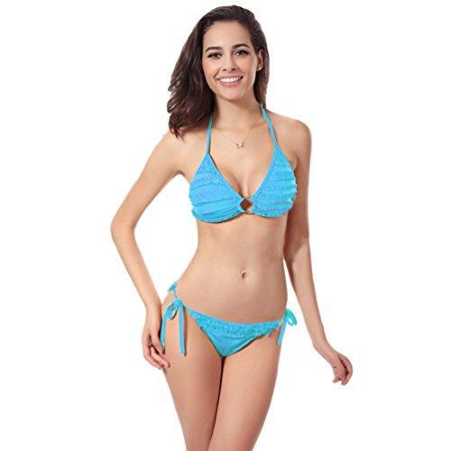 WanYang Mujeres Nuevo Estilo Color Brillante Triángulo Cuello Hálter Bikini Sets Pétalo Traje De Baño Ropa De Playa Swimwear Lago Azul