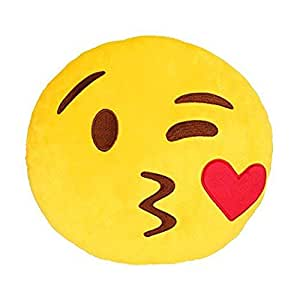 15CM Emoji Throwing kiss Emoticon Yellow Round Cushion Pillow Stuffed Plush Soft Toy