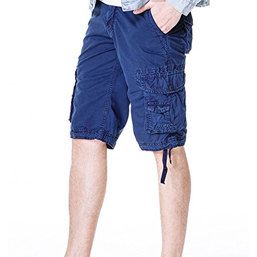Men's Cotton Cargo Shorts Elastic Waist Loose Fit Pants Boys Summer Outdoor (32,Dark Blue) by MOACC (Image #2)