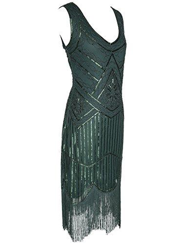 Beaded Tassels Girl Sequin Women's Dress Blackish Hem Vintage 1920s Green Flapper Flapper xwXYHq1F1