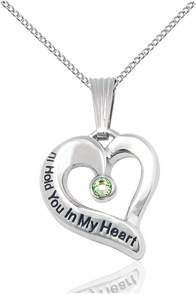 DiamondJewelryNY Ill Hold You in My Heart Pendant with a Peridot Swarovski Stone on an 18 Inch Chain