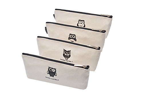 Lovely Owl Canvas Pen Pencil Case Stationery Pouch Coin bag Cosmetic Bags, Set of 4
