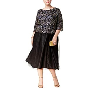 Alex Evenings Women's Plus Size Tea-Length Lace Mock Dress