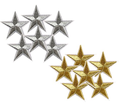 AKOAK 1.7 Inches Star Iron-On Patches,6 Pieces Gold and 6 Pieces Silver Star Patch Applique Embroidered Sew Iron on Patch Patches Sewing Craft Decoration