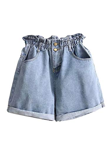 Milumia Women's Casual High Waisted Hemming Denim Jean Shorts with Pockets Blue-6 L