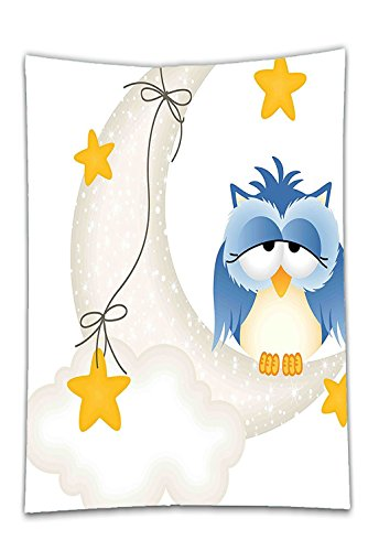Interestlee Satin drill Tablecloth?Kids Cute Owl Dozing on Crescent Moon with Stars Good Sleep Baby Print Light Blue Pearl Earth Yellow Dining Room Kitchen Rectangular Table Cover Home Decor (30h Pearl)