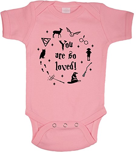 BeeGeeTees You are So Loved Wizard Baby Wizard Romper Onesie (Boys and Girls) (6 Months, Pink)