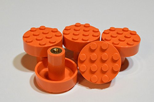 Set of 5 Build-On Brick Knobs (Orange) (Childrens Knobs)