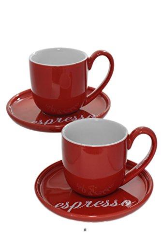 Set of 2 Modern Red Stoneware Demitasse 3oz