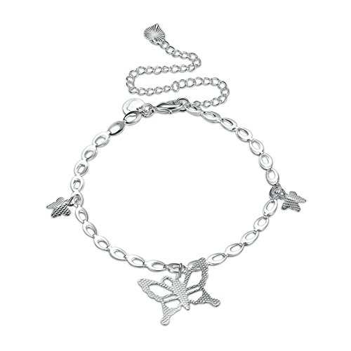 Epinki Anklet for Women and Girls Silver Anklets with Ankle Bracelet Beach Link Butterfly Anklet