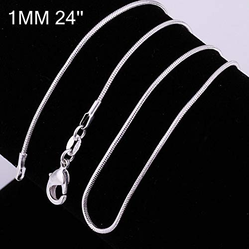 Necklace Snake Chain 1mm (Dds5391 Attractive 16 Inch - 24 Inch Women Fashion Silver Plated Snake Chain Necklace Jewelry - 1mm 24