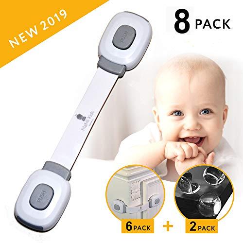 Baby Safety Cabinet Locks | Baby Proofing | Easy To Install | Cabinet Locks | Refrigerator Lock | Edge Protectors | Drawer Locks Child Safety | Door Locks for Kids | Door Latch (Locks and Corners)