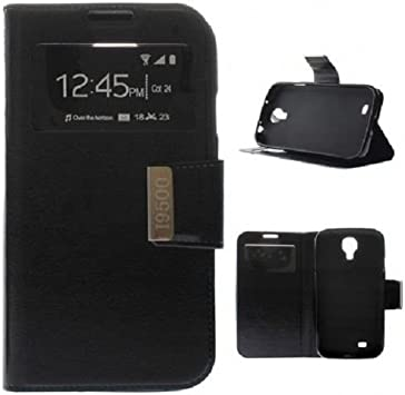 Desconocido Funda para Samsung Galaxy S4 I9500 con Tapa IMÁN Tipo Libro Ventana Dura Negra: Amazon.es: Electrónica