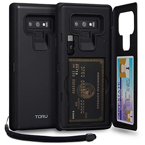 TORU CX PRO Note 9 Wallet Case with Hidden Credit Card Holder ID Slot Hard Cover, Strap, Mirror & USB Adapter for Samsung Galaxy Note 9 (2018) - Matte Black