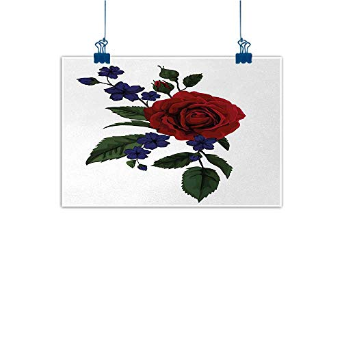 Mangooly Wall Art Painting Print Rose,Rosebud with Little Blossoms Leaves Love and Passion Theme Artful,Ruby Violet Blue Hunter Green 24