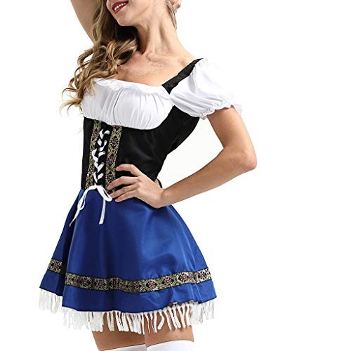 Women German Dirndl Dress Costumes for Bavarian Oktoberfest Halloween Carnival Maid Cotsume ()