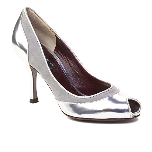 Silver amp; Dolce Pump Leather Toe Peep Women's Gabbana zwR0T