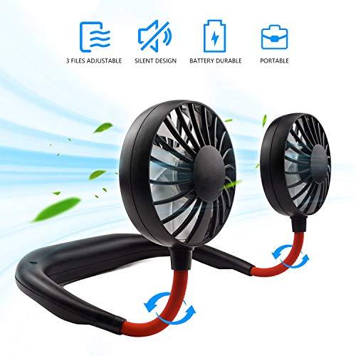 Hand Free Personal Fan Headphone Design Wearable Neckband Fan Necklance Fan Cooler Fan with Dual Wind Portable USB Battery Rechargeable Mini Fan Head for Traveling Outdoor Office Room (Black)
