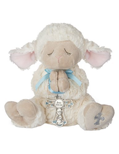 Ganz Serenity Lamb With Crib Cross Christening or Baptism Gift (Blue -