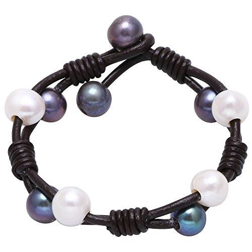 Cultured Freshwater Pearl Bracelet White and Black Beads on Genuine Leather Cord Strand Handmade Adjustable Wrap Jewelry for Women Girls Hand-knotted Bracelet for Christmas