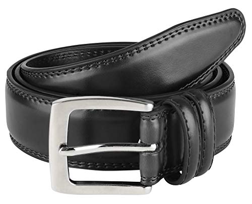 Men's Dress Belt ALL Genuine Leather Double Stitch Classic Design 35mm Black (Size 58)