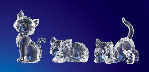 Club Pack of 12 ICY Crystal Decorative Cats Figurines - Crystal Icy 12