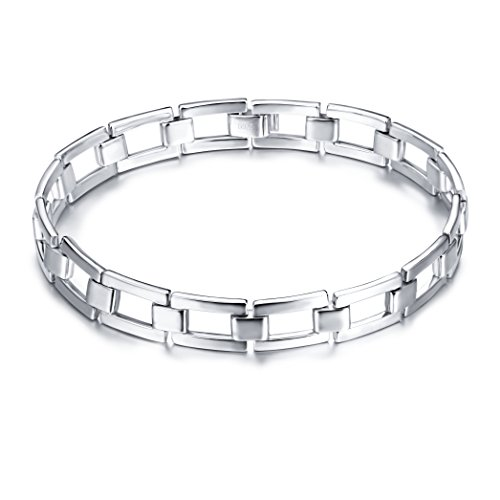 SILVER MOUNTAIN Men's Real S925 Sterling Silver Classic Link (925 Silver High Platinum Bracelet)