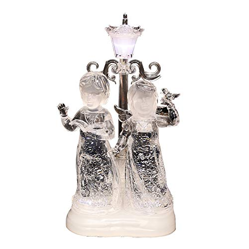 Wunderschöner LED Doppel-Engel mit Laterne und Glitterwirbel, ca. 30 cm