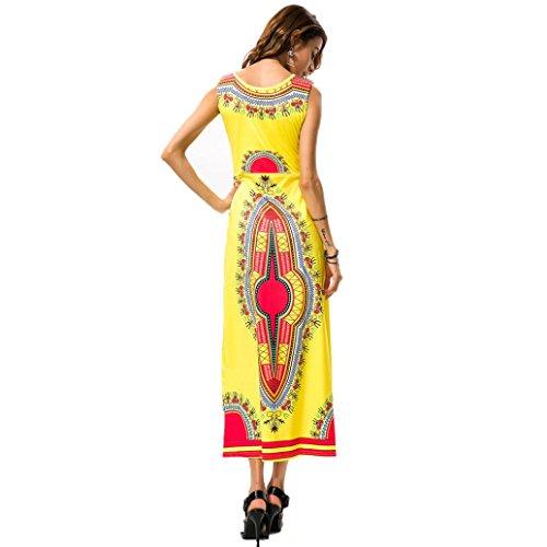 Robe Femmes,Fulltime® Femmes d'été sans manches Casual African Tribal imprimé floral robe longue