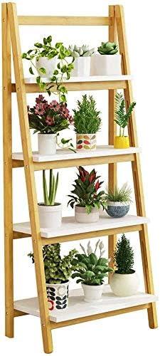 収納棚フラワーポットホルダーハーブ植物は、折りたたみ盆栽展示棚鉢植えスタンド4つのステップでポータブルラックハウスバルコニーのためのヨーロッパスタイルのラダー 収納ラック