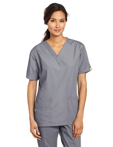 WonderWink Women's Scrubs Bravo 5 Pocket V-Neck Top, Pewter, Medium from WonderWink