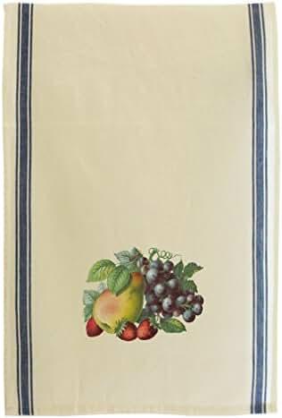 Purple Grapes One Peach Strawberries Retro Stripe Dish Kitchen Towel Blue
