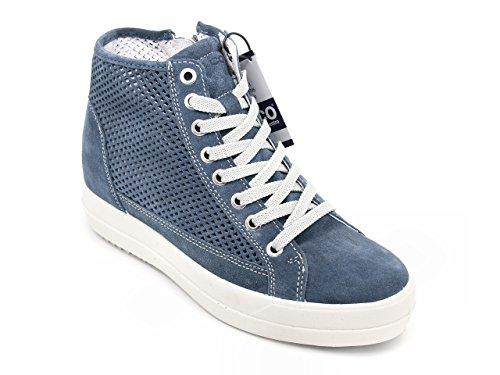 IGI & CO donna scarpe sneakers alte camoscio chiusura stringhe + zip